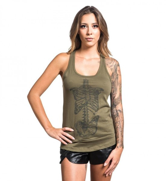 Sullen Clothing - SA Butterfly Bones Tank Olive